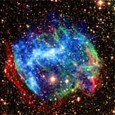 A composite Chandra X-ray (blue) and Palomar infrared (red and green) image of the supernova remnant W49B.: Image Courtesy X-ray: NASA/Chandra X-ray Center/Spitzer Science Center; Infrared: Caltech/Palomar