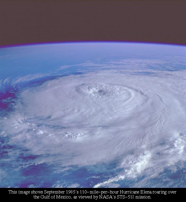 Hurricane Elena: Image Courtesy NASA/Goddard Space Flight Center, Laboratory for Extraterrestrial Physics