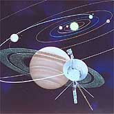 Saturn Voyager Mission Artwork depicts the spacecraft