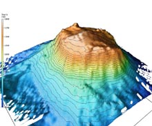 A multibeam swath bathymetric image of Bear Seamount produced on the OE sponsored Deep East mission in 2001.