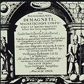 Front page of the William Gilbert's book ' De Magnete' from 1600.