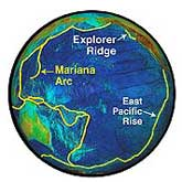 A global view of the Pacific Ring of Fire, showing the mid-ocean ridge and island arc/trench systems.