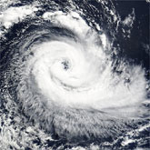 The Brazilian hurricane on March 26, 2004, as seen by the Moderate Resolution Imaging Spectroradiometer (MODIS) on the Terra satellite.