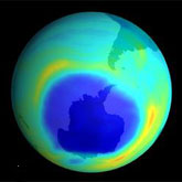 Ozone hole in dark blue